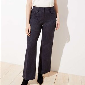 Loft Women's Houndstooth High Waist Curvy Trouser